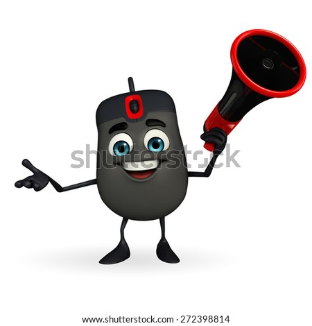 Cartoon Character of Computer Mouse with Loudspeaker - stock photo