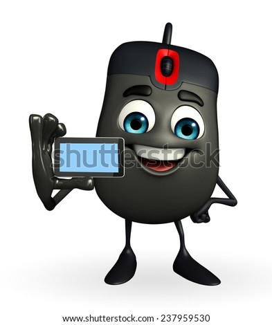 Cartoon Character of Computer Mouse with mobile - stock photo