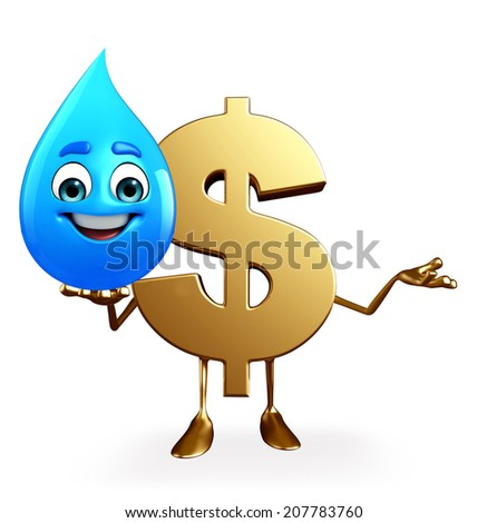 Cartoon Character of dollar with water drop - stock photo