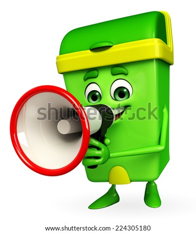 Cartoon Character of Dustbin with loudspeaker