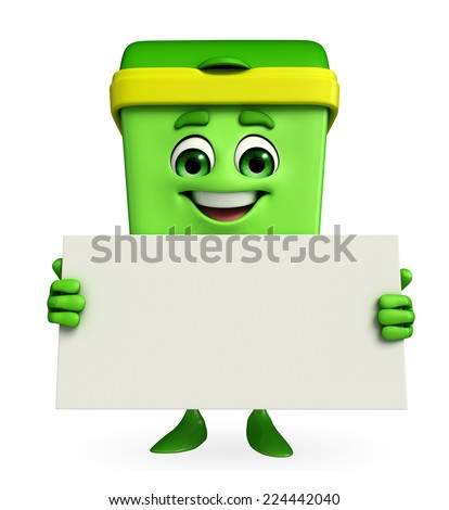 Cartoon Character of Dustbin with sign - stock photo