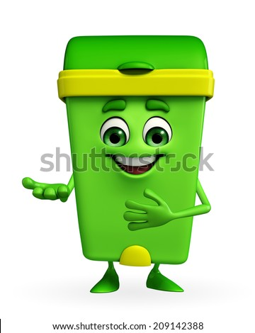 Cartoon Character of Dustbin with welcome pose - stock photo