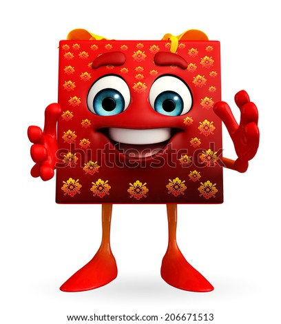 Cartoon Character of gift box with clapping