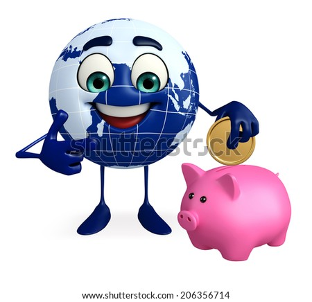 Cartoon Character of Globe with piggy bank - stock photo