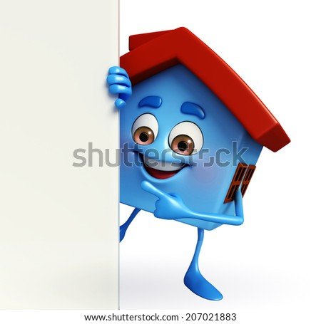 Cartoon Character of house with sign