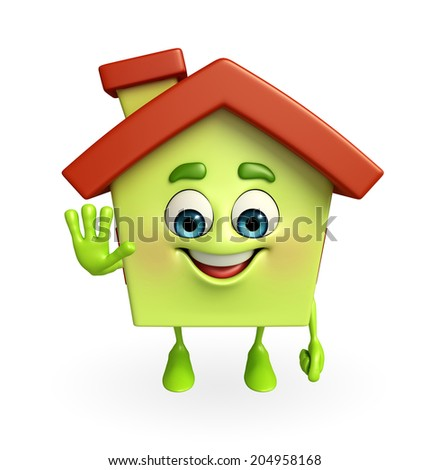 Cartoon Character of house with stop sign