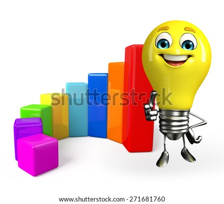 Cartoon Character of light bulb with business graph - stock photo