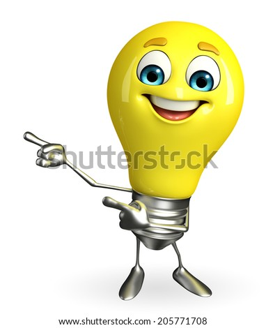 Cartoon Character of light bulb with pointing pose - stock photo