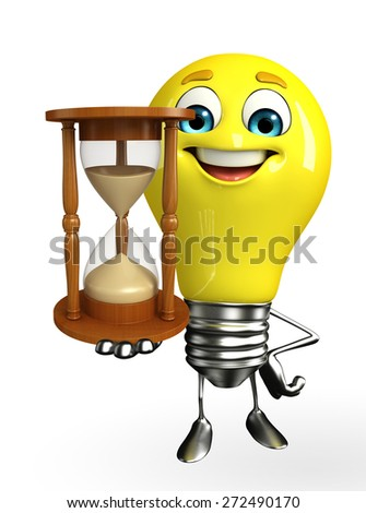 Cartoon Character of light bulb with sand clock - stock photo
