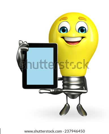 Cartoon Character of light bulb with tab - stock photo