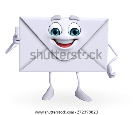 Cartoon Character of mail is pointing  - stock photo