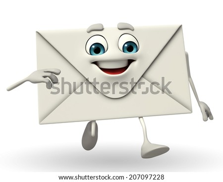 Cartoon Character of mail is running - stock photo