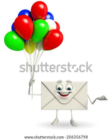 Cartoon Character of mail with Balloon - stock photo