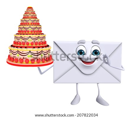 Cartoon Character of mail with cake - stock photo