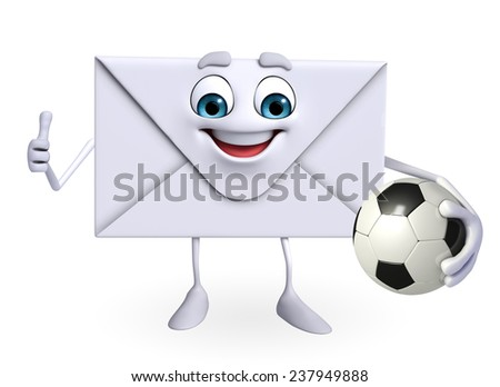 Cartoon Character of mail with football - stock photo