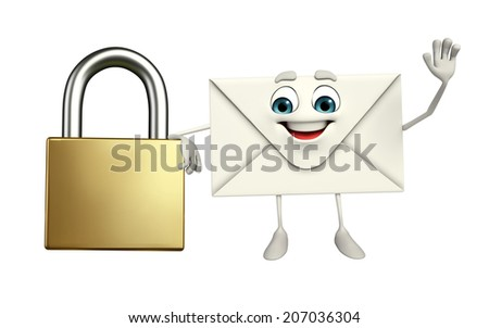 Cartoon Character of mail with lock - stock photo