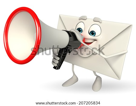 Cartoon Character of mail with Loudspeaker - stock photo