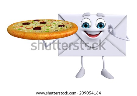 Cartoon Character of mail with pizza - stock photo