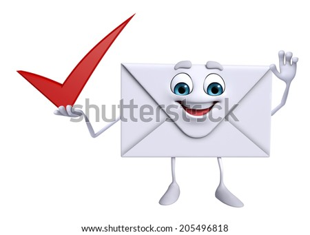 Cartoon Character of mail with right sign - stock photo