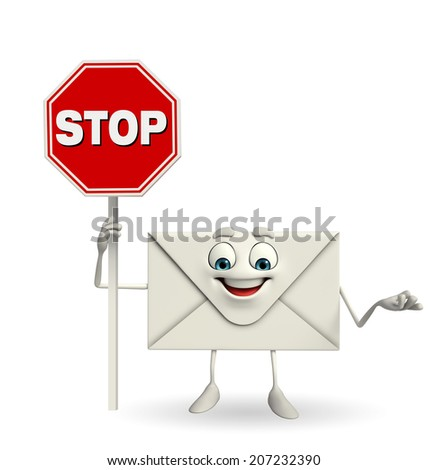 Cartoon Character of mail with stop sign  - stock photo