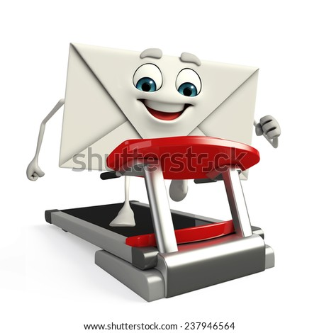 Cartoon Character of mail with walking machine - stock photo
