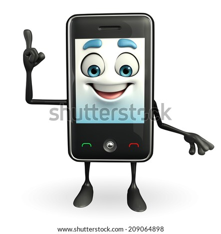 Cartoon Character of Mobile is pointing