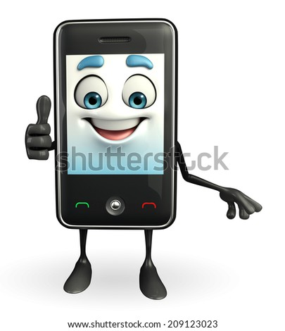 Cartoon Character of Mobile is thumps up