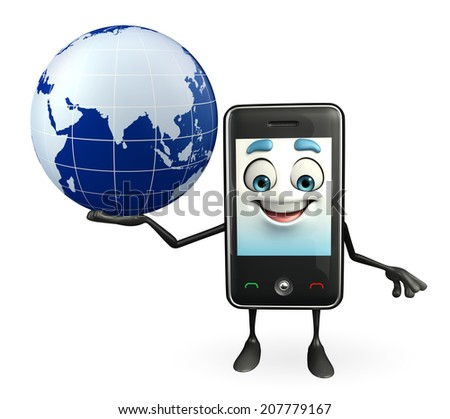 Cartoon Character of Mobile with globe