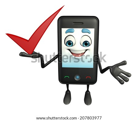 Cartoon Character of Mobile with right sign