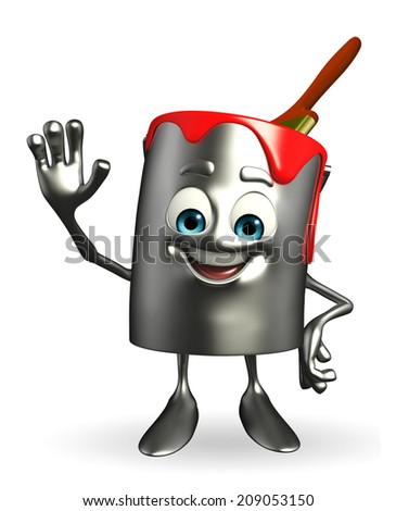 Cartoon Character of paint bucket is hello pose - stock photo