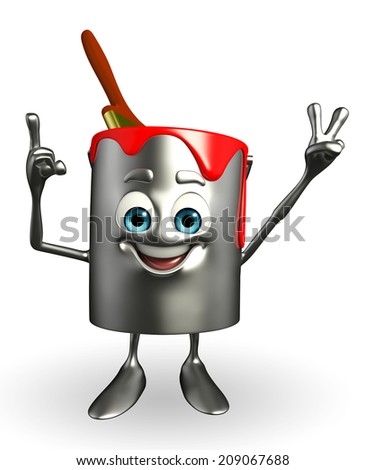 Cartoon Character of paint bucket is Victory pose - stock photo