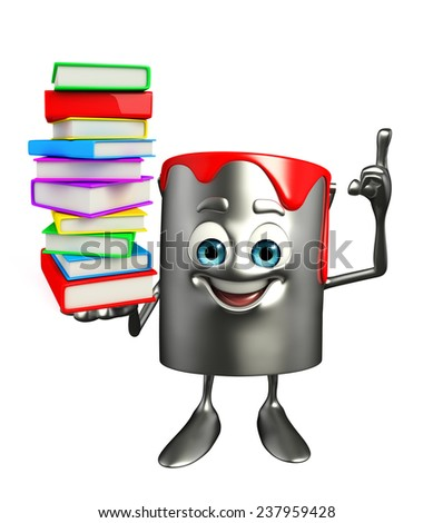 Cartoon Character of paint bucket with Books pile - stock photo