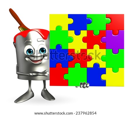 Cartoon Character of paint bucket with puzzle  - stock photo