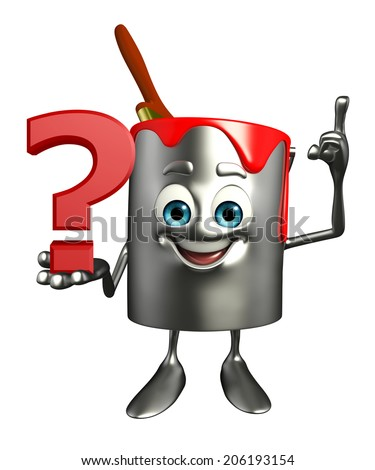 Cartoon Character of paint bucket with question mark - stock photo