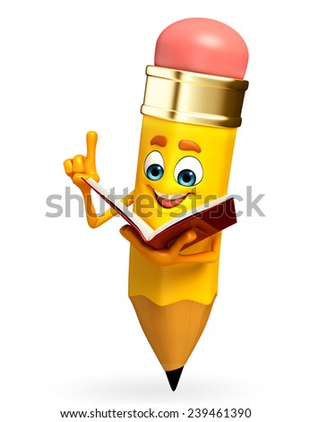 Cartoon Character of pencil is read a book - stock photo