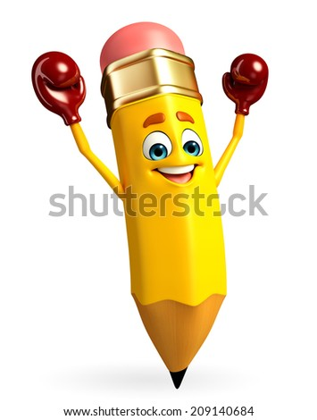 Cartoon Character of pencil with Boxing Gloves - stock photo