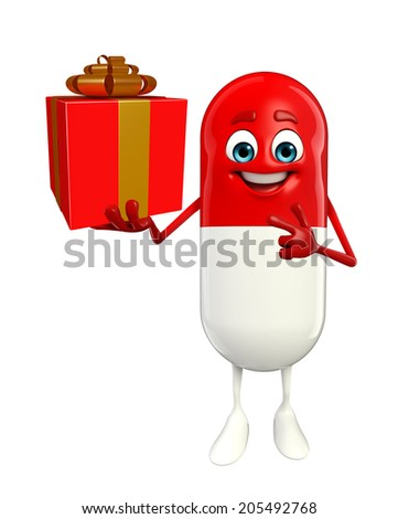Cartoon character of pill with gift box  - stock photo