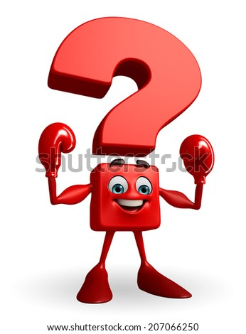 Cartoon Character of Question Mark with Boxing Gloves - stock photo
