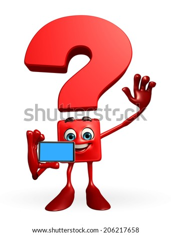 Cartoon Character of Question Mark with mobile