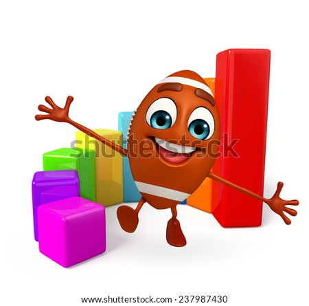 Cartoon Character of rugby ball with business graph - stock photo