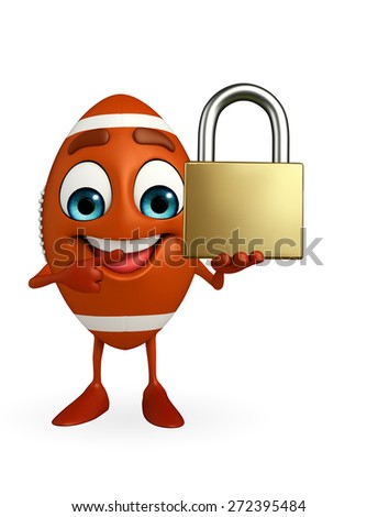Cartoon Character of rugby ball with lock - stock photo