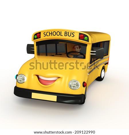 Cartoon Character of school van with  - stock photo