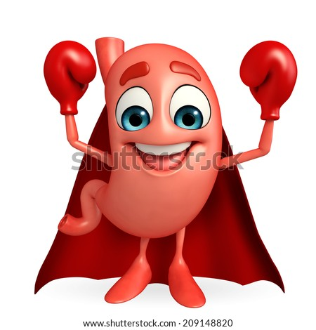 Cartoon Character of super stomach with boxing gloves - stock photo