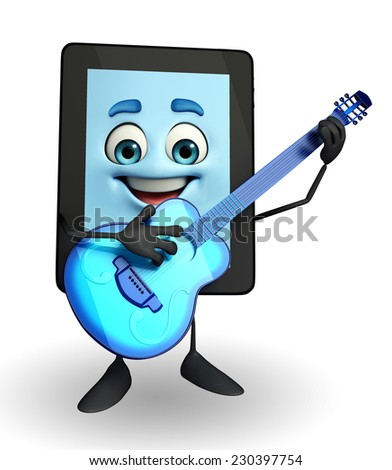 Cartoon character of tab with Guitar
