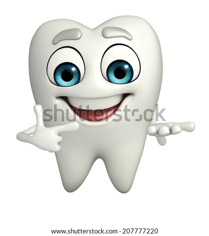Cartoon character of teeth is pointing - stock photo