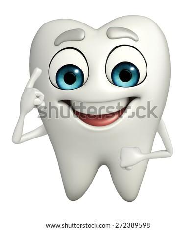 Cartoon character of teeth is thinking - stock photo