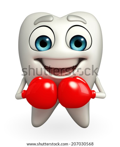 Cartoon character of teeth with Boxing Gloves - stock photo