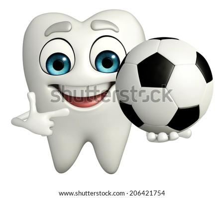 Cartoon character of teeth with football - stock photo