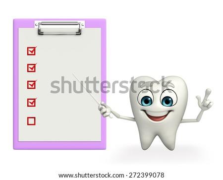 Cartoon character of teeth with notepad - stock photo