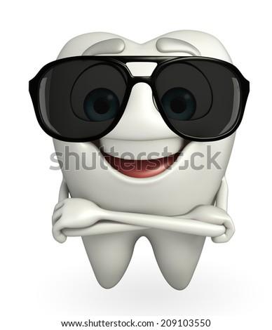 Cartoon character of teeth with sun glasses - stock photo